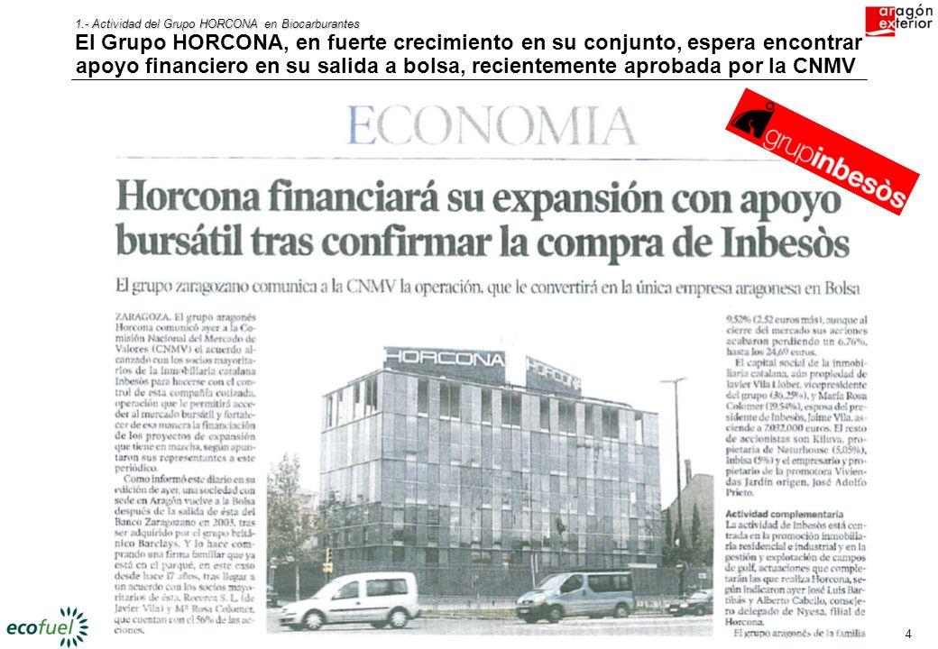 3 1.- Actividad del Grupo HORCONA en Biocarburantes ECOFUEL está desarrollando varios proyectos de biodiesel, con idea de ser uno de los principales a