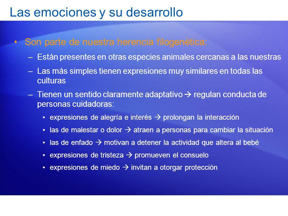 Desarrollo emocional Incluye tres habilidades distintas: –Reconocimiento de emociones –Expresión de emociones –Regulación de emociones