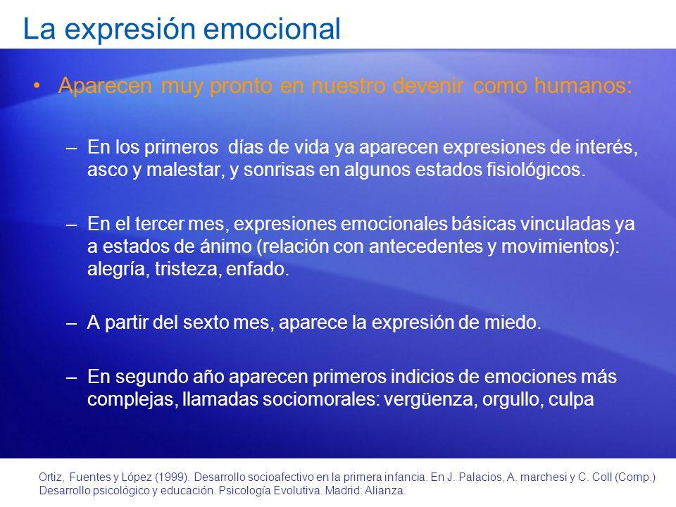 Reconocimiento de emociones y empatía – Primeras evidencias: contagio emocional (lloran si oyen llorar) – A los 3-4 meses ya reconocen emociones distintas y reaccionan a ellas (agitación, si alegría; quietud, si cólera; succión y llanto si tristeza).