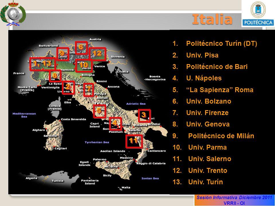 Sesión Informativa Diciembre 2011 VRRII - OI Italia 1.Politécnico Turín (DT) 2.Univ. Pisa 3.Politécnico de Bari 4.U. Nápoles 5.La Sapienza Roma 6.Univ