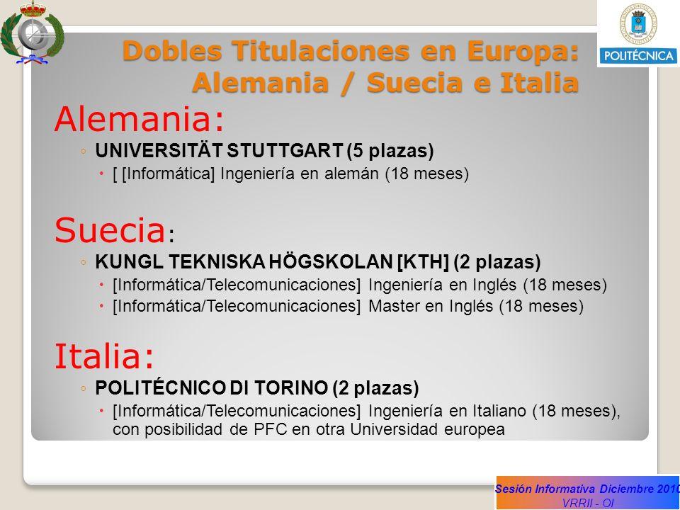 Sesión Informativa Diciembre 2010 VRRII - OI Dobles Titulaciones en Europa: Alemania / Suecia e Italia Alemania: UNIVERSITÄT STUTTGART (5 plazas) [ [I