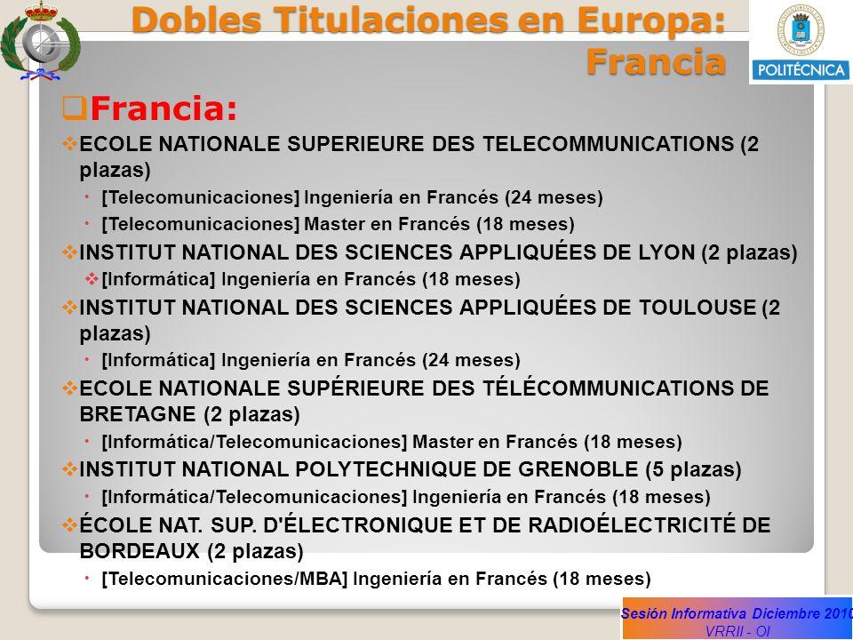 Sesión Informativa Diciembre 2010 VRRII - OI Dobles Titulaciones en Europa: Francia Francia: ECOLE NATIONALE SUPERIEURE DES TELECOMMUNICATIONS (2 plaz