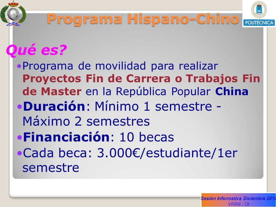 Sesión Informativa Diciembre 2010 VRRII - OI Programa Hispano-Chino Qué es? Programa de movilidad para realizar Proyectos Fin de Carrera o Trabajos Fi