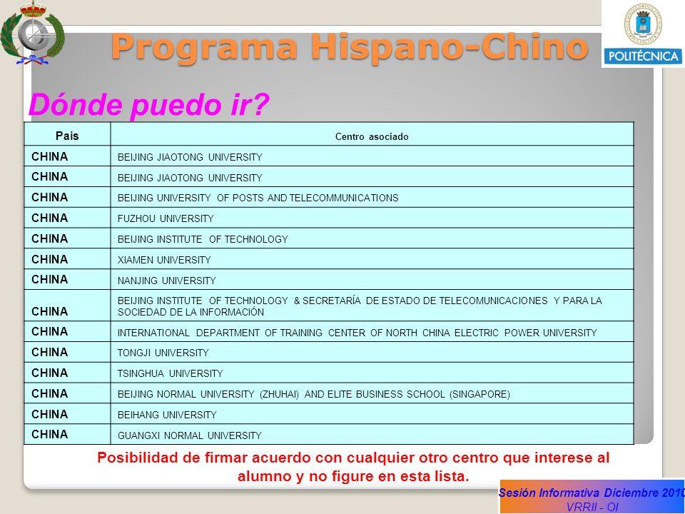 Sesión Informativa Diciembre 2010 VRRII - OI Programa Hispano-Chino Dónde puedo ir? Pais Centro asociado CHINA BEIJING JIAOTONG UNIVERSITY CHINA BEIJI