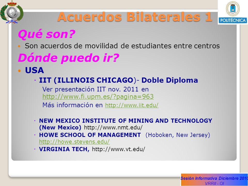 Sesión Informativa Diciembre 2010 VRRII - OI Acuerdos Bilaterales 1 Qué son? Son acuerdos de movilidad de estudiantes entre centros Dónde puedo ir? US