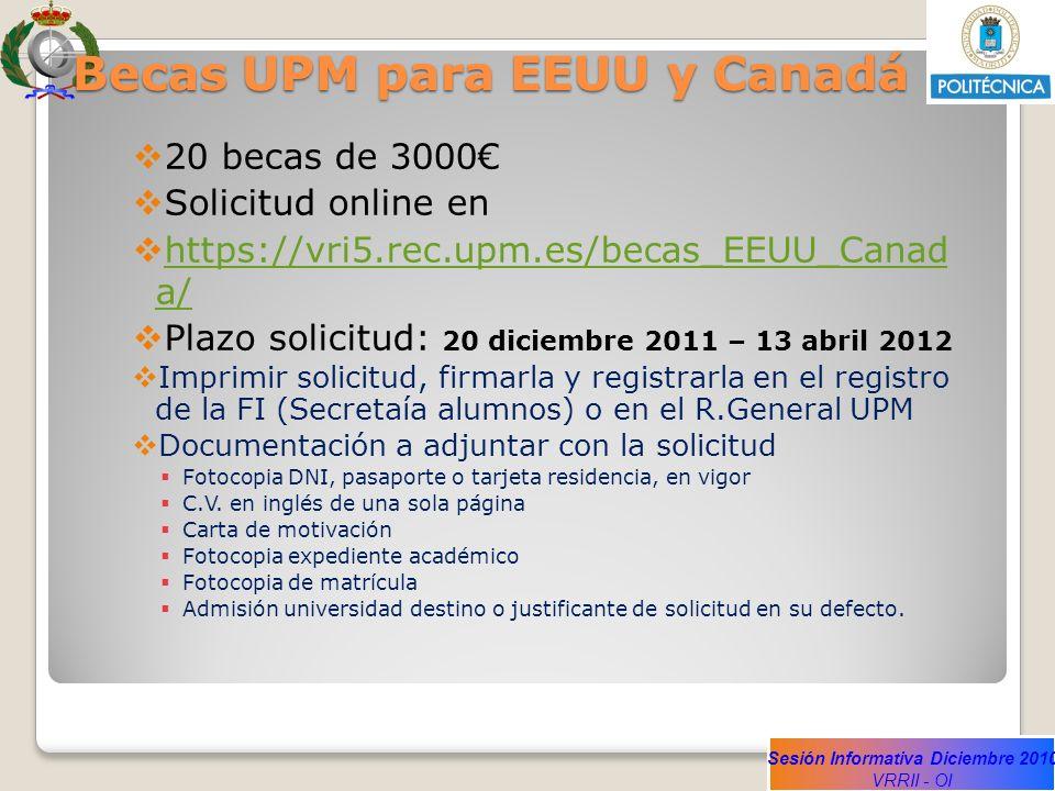 Sesión Informativa Diciembre 2010 VRRII - OI Becas UPM para EEUU y Canadá 20 becas de 3000 Solicitud online en https://vri5.rec.upm.es/becas_EEUU_Cana