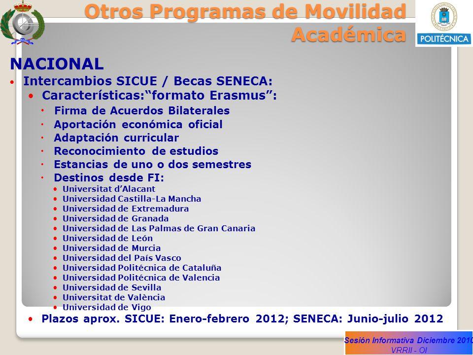 Sesión Informativa Diciembre 2010 VRRII - OI Otros Programas de Movilidad Académica NACIONAL Intercambios SICUE / Becas SENECA: Características:format