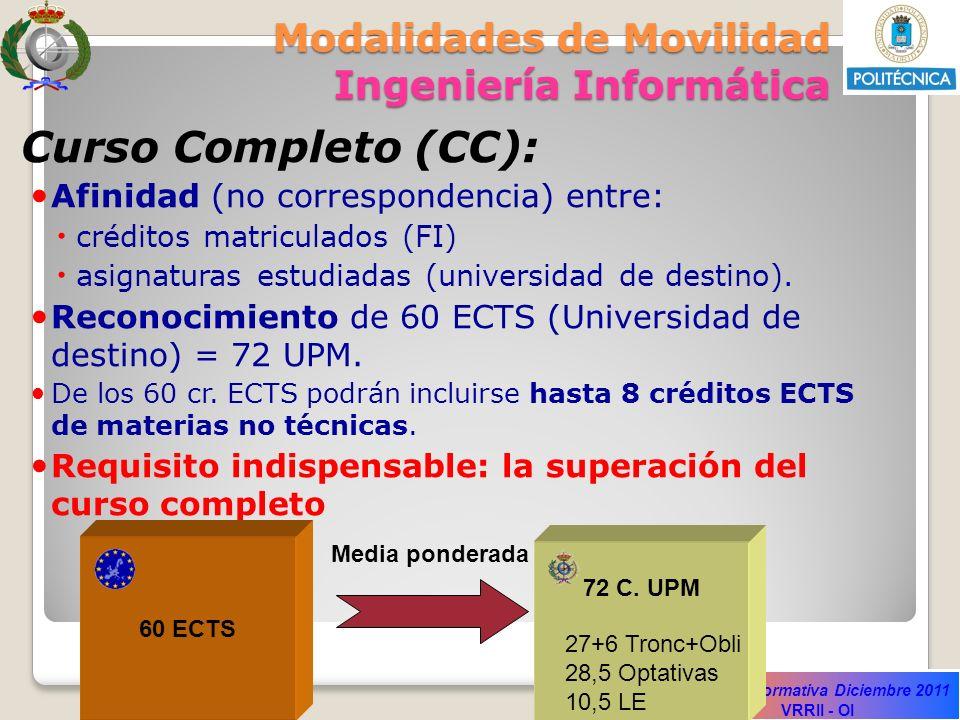 Sesión Informativa Diciembre 2011 VRRII - OI Modalidades de Movilidad Ingeniería Informática Curso Completo (CC): Afinidad (no correspondencia) entre: