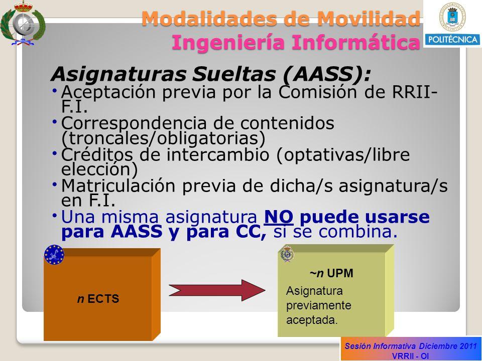 Sesión Informativa Diciembre 2011 VRRII - OI Modalidades de Movilidad Ingeniería Informática Asignaturas Sueltas (AASS): Aceptación previa por la Comi