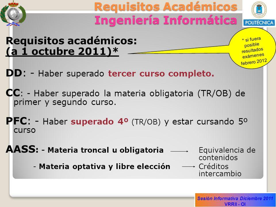 Sesión Informativa Diciembre 2011 VRRII - OI Requisitos Académicos Ingeniería Informática Requisitos académicos: (a 1 octubre 2011)* DD: - Haber super