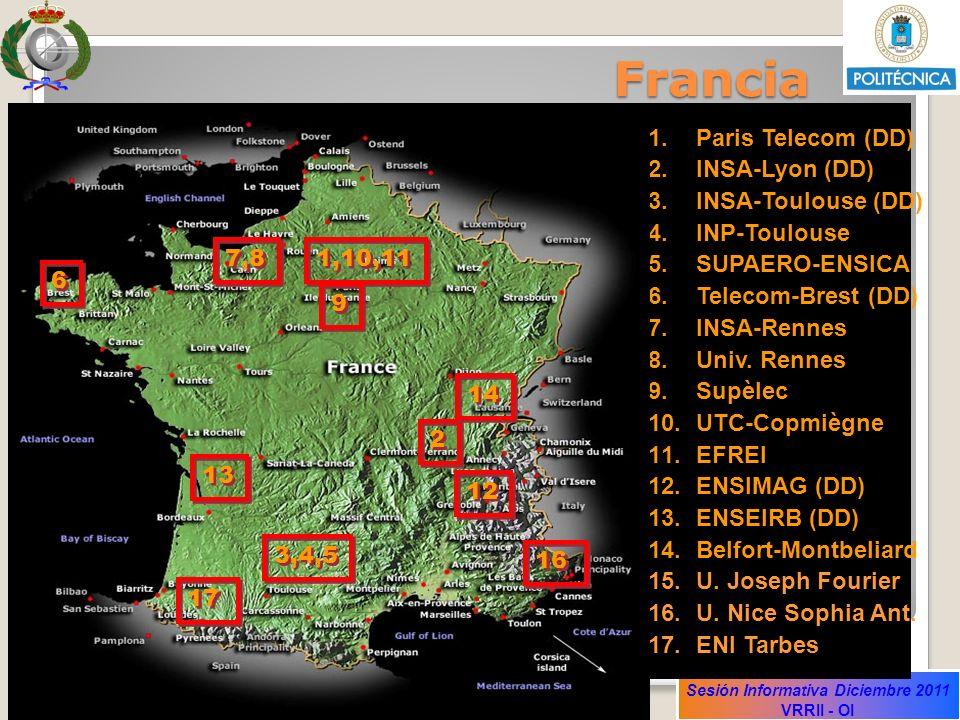 Sesión Informativa Diciembre 2011 VRRII - OI 1.Paris Telecom (DD) 2.INSA-Lyon (DD) 3.INSA-Toulouse (DD) 4.INP-Toulouse 5.SUPAERO-ENSICA 6.Telecom-Bres