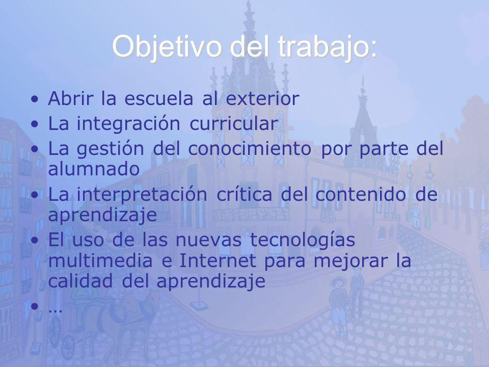 Objetivo del trabajo: Abrir la escuela al exterior La integración curricular La gestión del conocimiento por parte del alumnado La interpretación crít