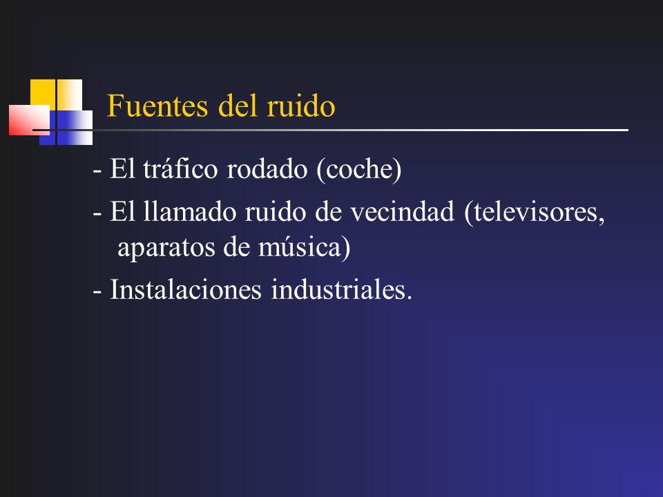 Fuentes del ruido - El tráfico rodado (coche) - El llamado ruido de vecindad (televisores, aparatos de música) - Instalaciones industriales.