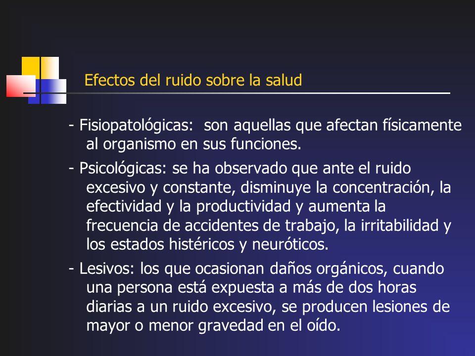 Efectos del ruido sobre la salud - Fisiopatológicas: son aquellas que afectan físicamente al organismo en sus funciones. - Psicológicas: se ha observa