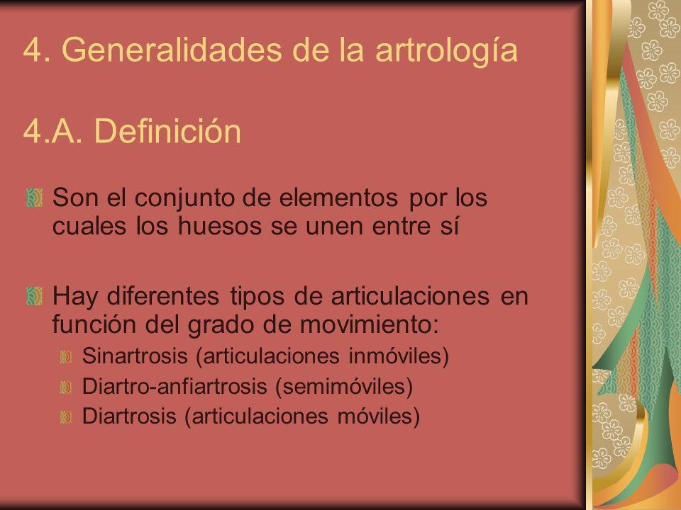 4. Generalidades de la artrología 4.A. Definición Son el conjunto de elementos por los cuales los huesos se unen entre sí Hay diferentes tipos de arti