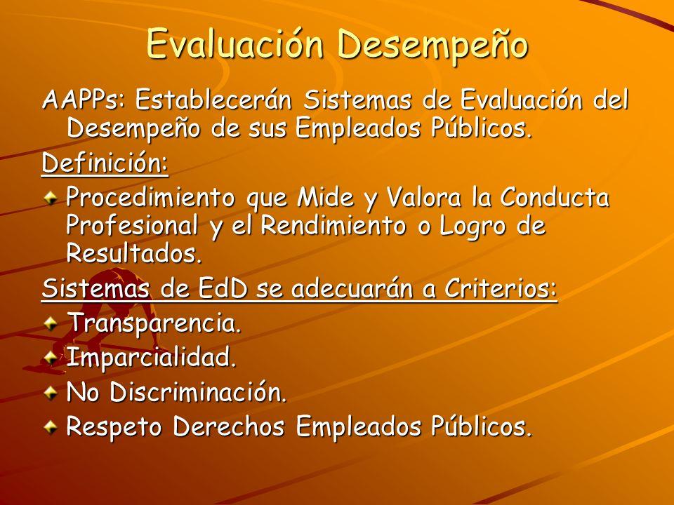 Evaluación Desempeño AAPPs: Establecerán Sistemas de Evaluación del Desempeño de sus Empleados Públicos. Definición: Procedimiento que Mide y Valora l