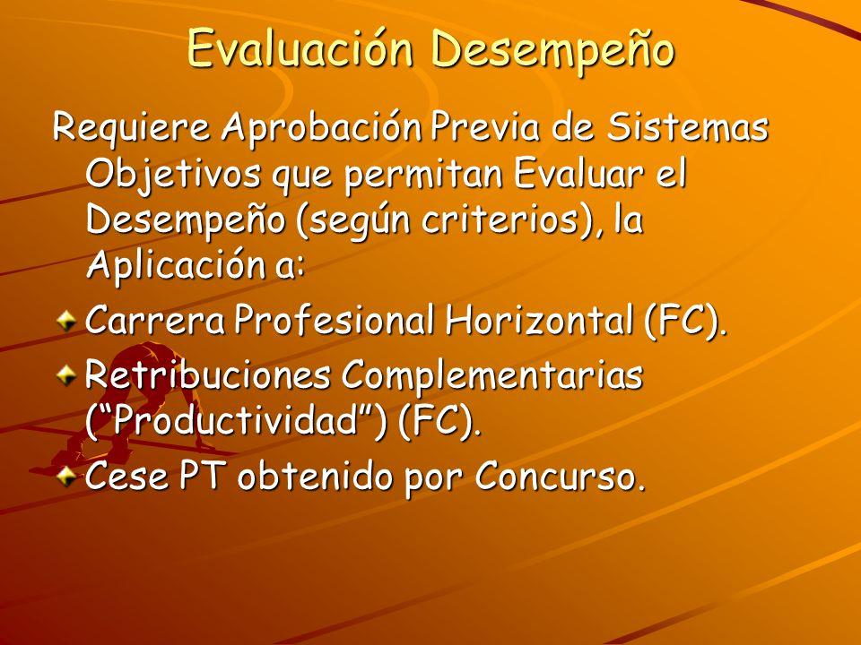 Evaluación Desempeño Requiere Aprobación Previa de Sistemas Objetivos que permitan Evaluar el Desempeño (según criterios), la Aplicación a: Carrera Pr