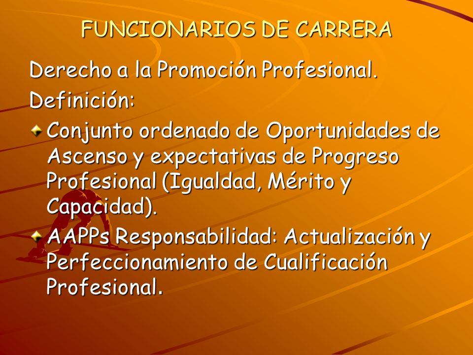 FUNCIONARIOS DE CARRERA Derecho a la Promoción Profesional. Definición: Conjunto ordenado de Oportunidades de Ascenso y expectativas de Progreso Profe