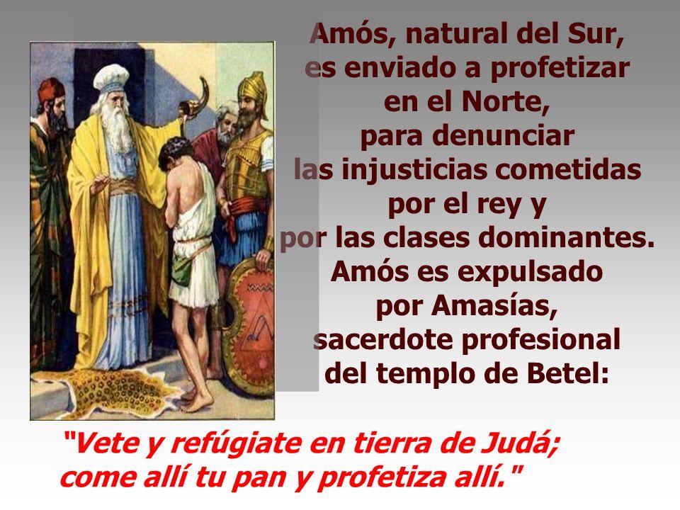 Amós, natural del Sur, es enviado a profetizar en el Norte, para denunciar las injusticias cometidas por el rey y por las clases dominantes.