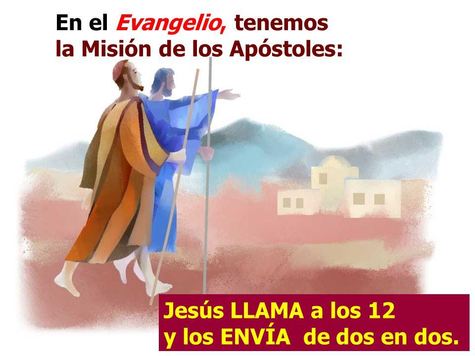 En el Evangelio, tenemos la Misión de los Apóstoles: Jesús LLAMA a los 12 y los ENVÍA de dos en dos.