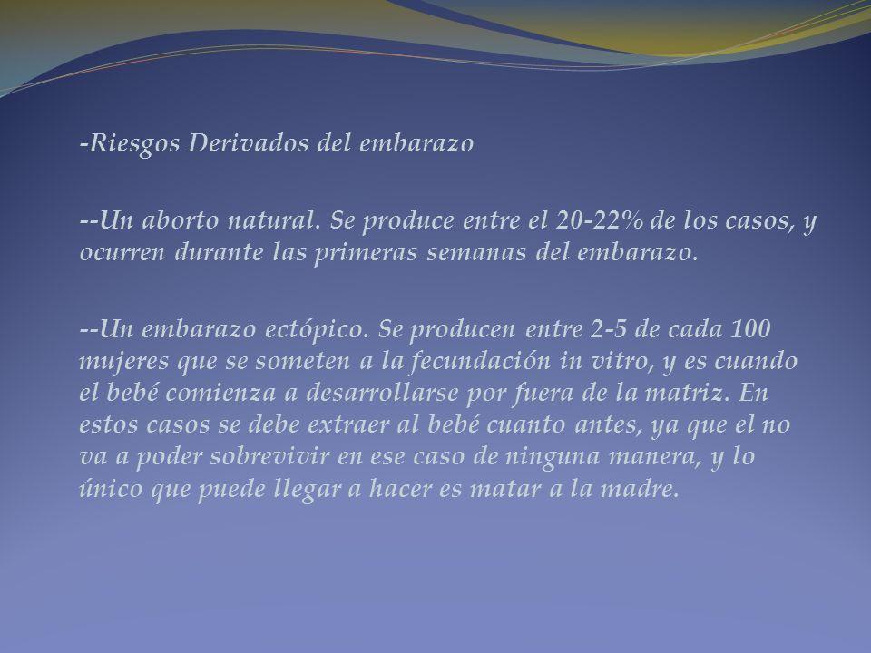 -Riesgos Derivados del embarazo --Un aborto natural. Se produce entre el 20-22% de los casos, y ocurren durante las primeras semanas del embarazo. --U