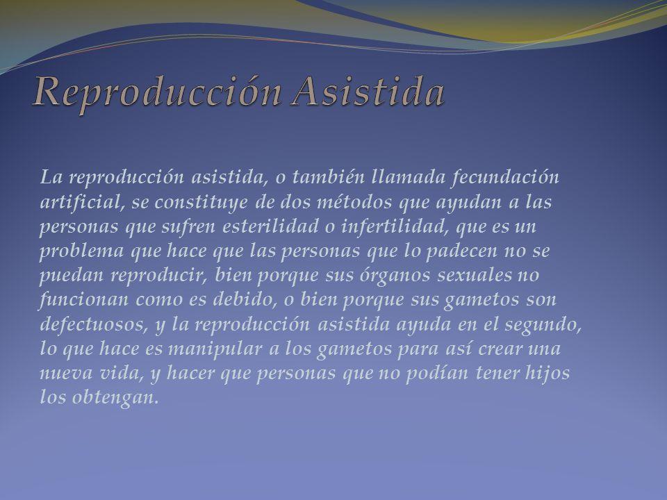 La reproducción asistida, o también llamada fecundación artificial, se constituye de dos métodos que ayudan a las personas que sufren esterilidad o in