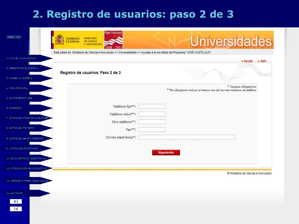 2. Registro de usuarios: paso 2 de 3 14. CONTACTO 14.
