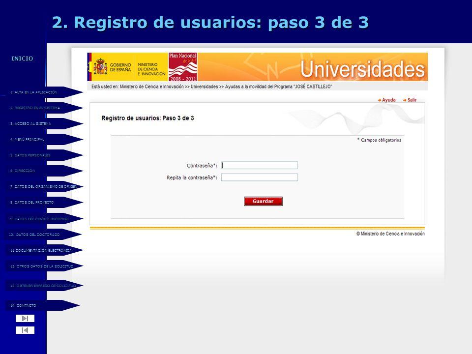 2. Registro de usuarios: paso 3 de 3 14. CONTACTO 14.