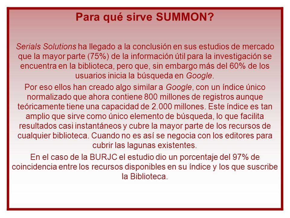 Implementación de SUMMON: AZ El objetivo a conseguir es que la herramienta sea útil a la hora de ofrecer a los usuarios todos los contenidos electrónicos que la Biblioteca tiene como activos.