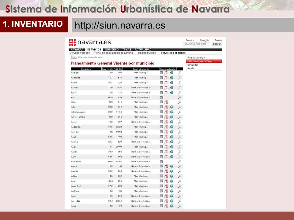 1. INVENTARIO Sistema de Información Urbanística de Navarra http://siun.navarra.es