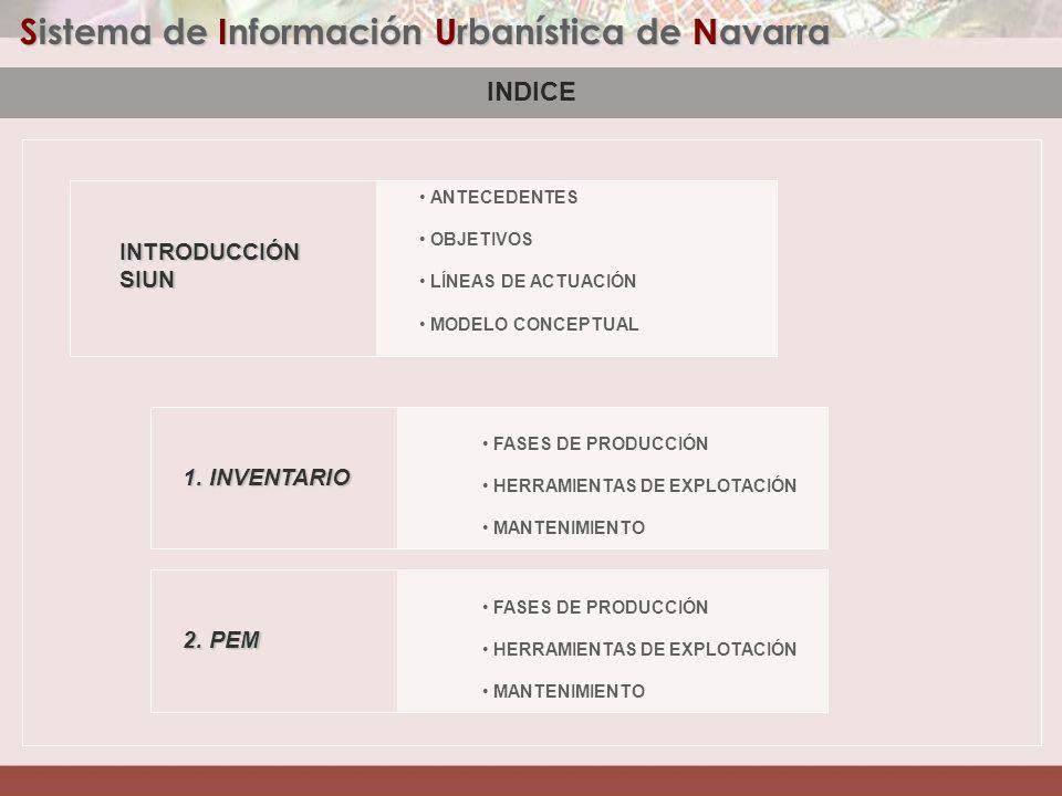 Sistema de Información Urbanística de Navarra INTRODUCCIÓN ANTECEDENTES 1999 Nace el proyecto de incorporar el planeamiento en un S.I.