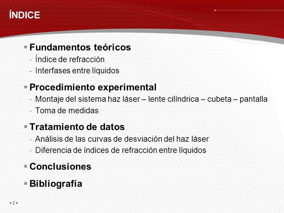 2 ÍNDICE Fundamentos teóricos -Índice de refracción -Interfases entre líquidos Procedimiento experimental -Montaje del sistema haz láser – lente cilín