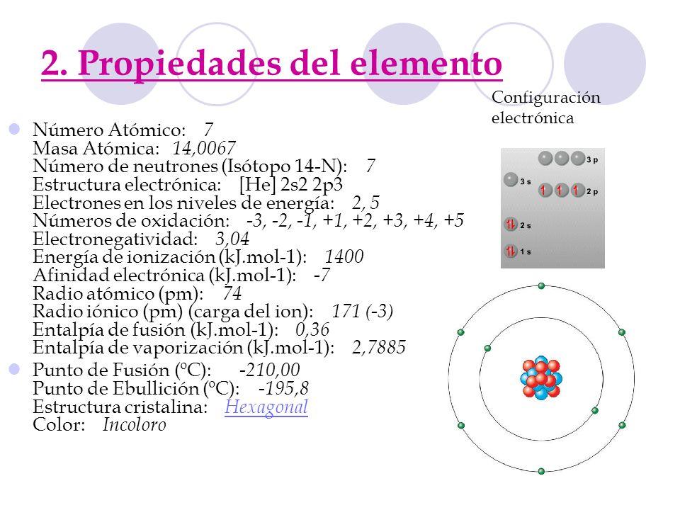 2. Propiedades del elemento Número Atómico: 7 Masa Atómica: 14,0067 Número de neutrones (Isótopo 14-N): 7 Estructura electrónica: [He] 2s2 2p3 Electro