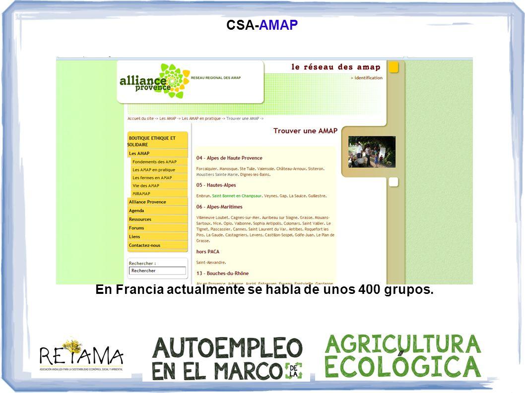 CSA-AMAP En Francia actualmente se habla de unos 400 grupos.