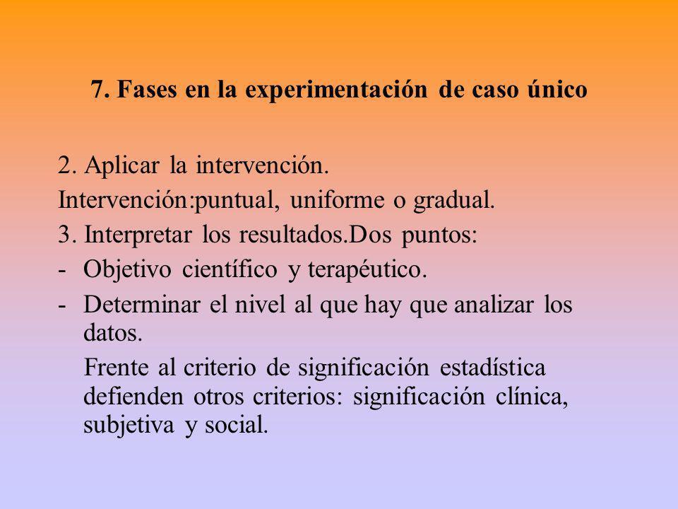 7. Fases en la experimentación de caso único 2. Aplicar la intervención. Intervención:puntual, uniforme o gradual. 3. Interpretar los resultados.Dos p