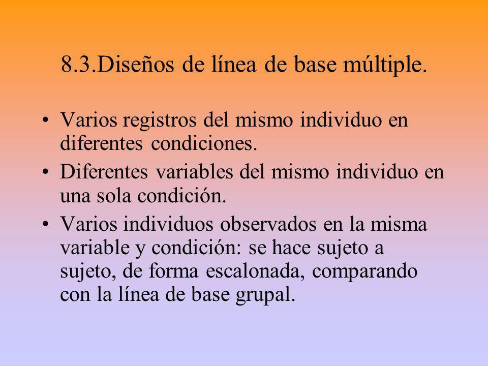 8.3.Diseños de línea de base múltiple. Varios registros del mismo individuo en diferentes condiciones. Diferentes variables del mismo individuo en una