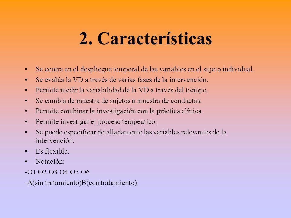 2.Características Se centra en el despliegue temporal de las variables en el sujeto individual.