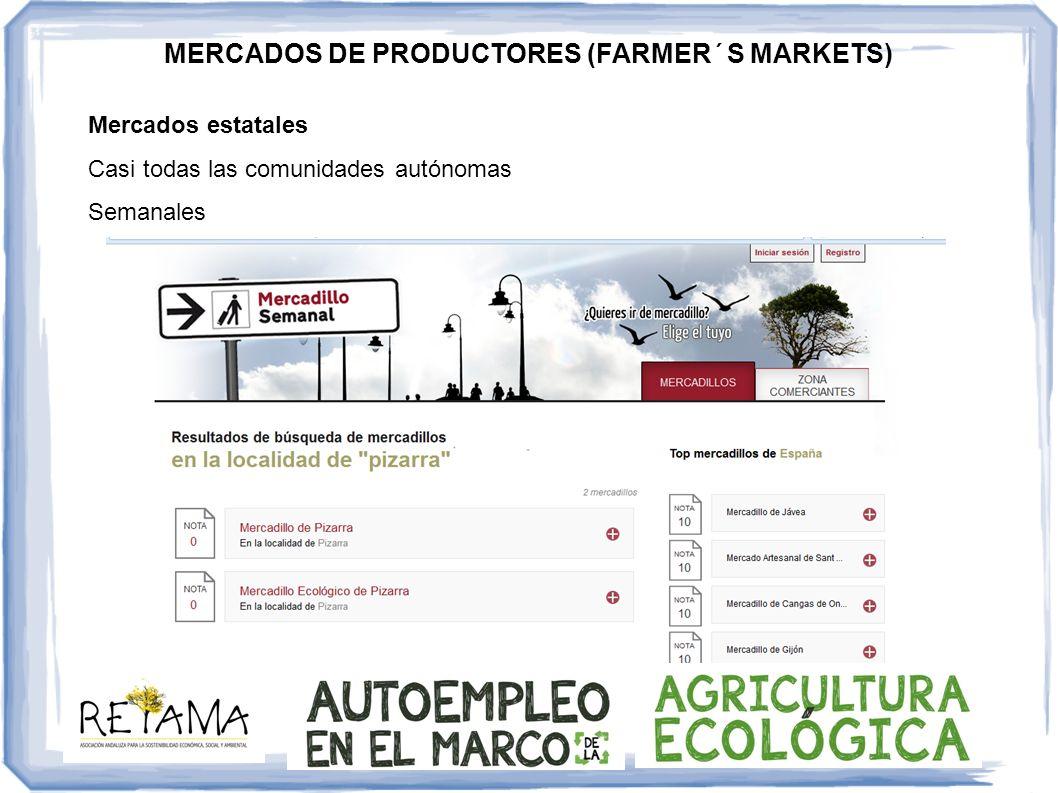 Mercados estatales Casi todas las comunidades autónomas Semanales MERCADOS DE PRODUCTORES (FARMER´S MARKETS)