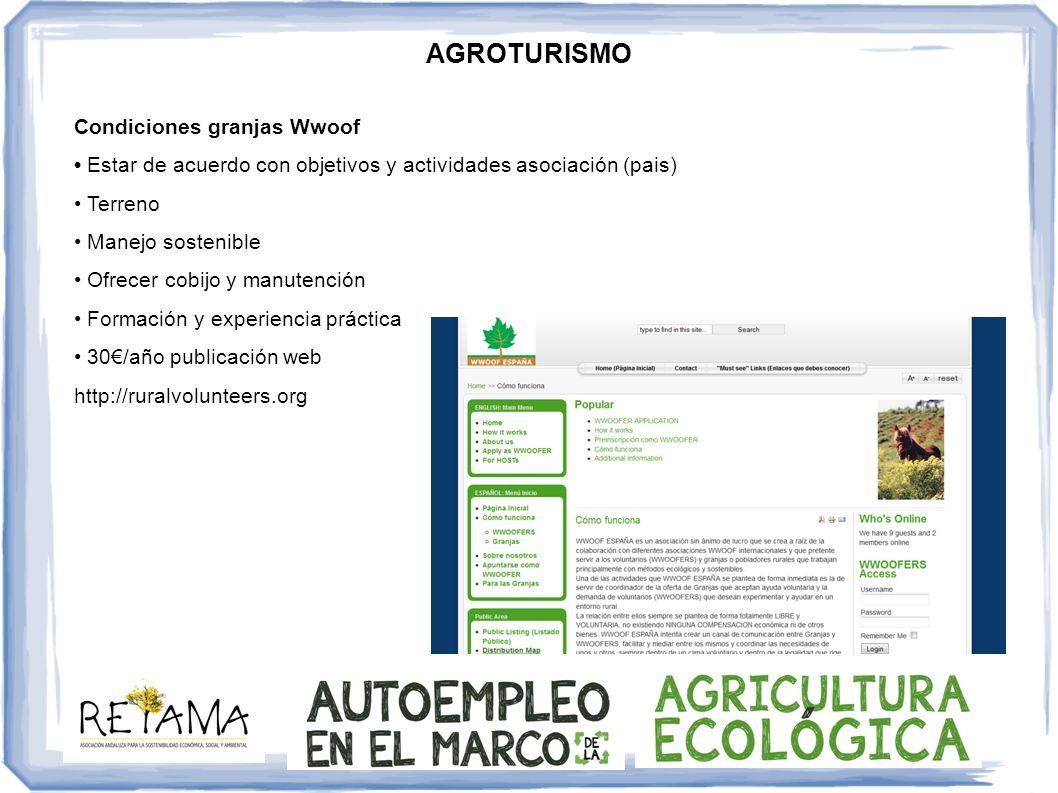 AGROTURISMO Condiciones granjas Wwoof Estar de acuerdo con objetivos y actividades asociación (pais) Terreno Manejo sostenible Ofrecer cobijo y manute