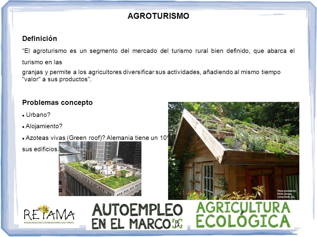 AGROTURISMO Ecoagroturismo o ecoagriturismo (Gemma Gimenez Borbalan) Puede desarrollarse en entornos rurales, litorales, de montaña, urbanos y periurbanos.