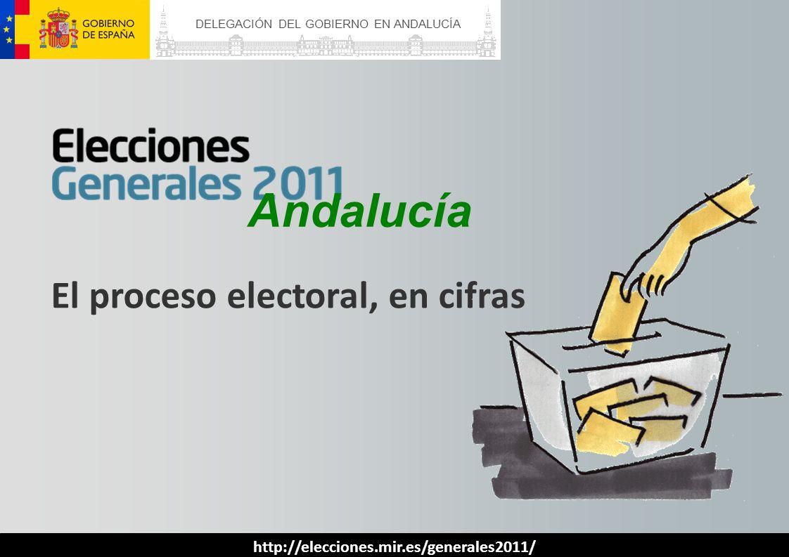 CENSO ELECTORAL Andalucía ELECTORES RESIDENTES EN ESPAÑA ELECTORES RESIDENTES EN EL EXTRANJERO TOTAL ALMERÍA 440.44329.140469.583 CÁDIZ 960.49620.562981.058 CÓRDOBA 637.76614.320652.086 GRANADA 699.32135.872735.193 HUELVA 387.3695.379392.748 JAÉN 527.5879.441537.028 MÁLAGA 1.081.20635.0581.116.264 SEVILLA 1.482.85623.2631.506.119 ANDALUCÍA 6.217.044173.035 6.390.079 El censo se incrementa en 155.975 electores respecto a los comicios generales de 2008, lo que representa un aumento del 2,5%