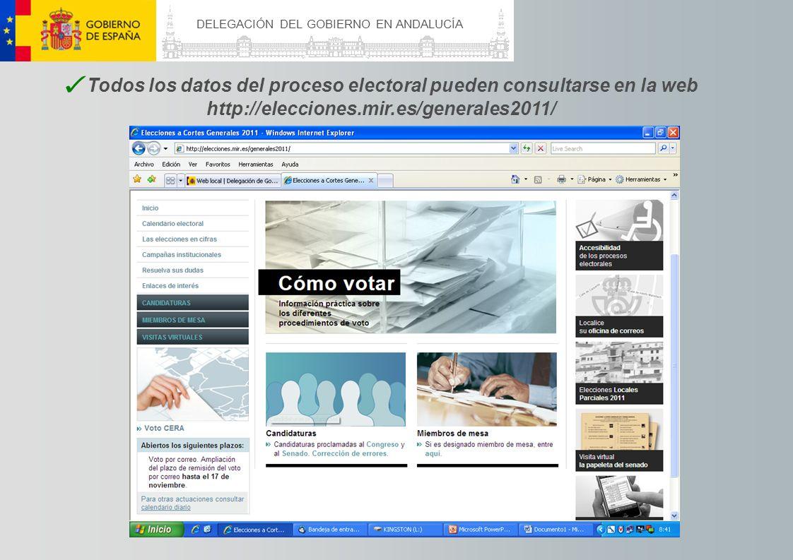 DELEGACIÓN DEL GOBIERNO EN ANDALUCÍA Todos los datos del proceso electoral pueden consultarse en la web http://elecciones.mir.es/generales2011/