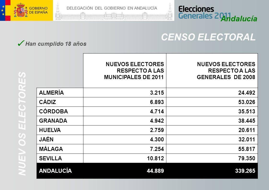 DELEGACIÓN DEL GOBIERNO EN ANDALUCÍA CENSO ELECTORAL Andalucía NUEVOS ELECTORES RESPECTO A LAS MUNICIPALES DE 2011 NUEVOS ELECTORES RESPECTO A LAS GEN