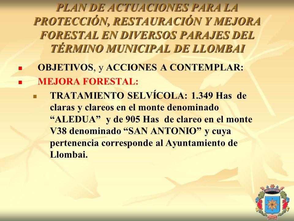 PLAN DE ACTUACIONES PARA LA PROTECCIÓN, RESTAURACIÓN Y MEJORA FORESTAL EN DIVERSOS PARAJES DEL TÉRMINO MUNICIPAL DE LLOMBAI OBJETIVOS, y ACCIONES A CO