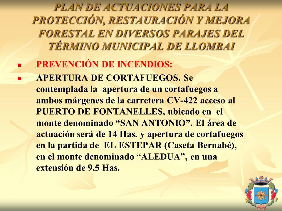 PLAN DE ACTUACIONES PARA LA PROTECCIÓN, RESTAURACIÓN Y MEJORA FORESTAL EN DIVERSOS PARAJES DEL TÉRMINO MUNICIPAL DE LLOMBAI PREVENCIÓN DE INCENDIOS: A