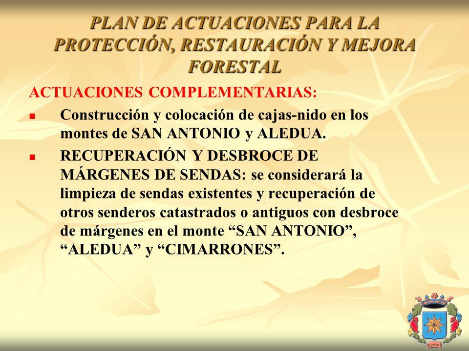 PLAN DE ACTUACIONES PARA LA PROTECCIÓN, RESTAURACIÓN Y MEJORA FORESTAL ACTUACIONES COMPLEMENTARIAS: Construcción y colocación de cajas-nido en los mon
