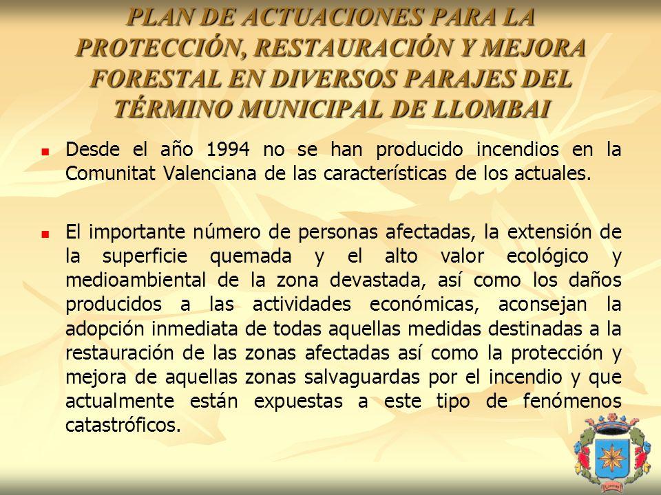 PLAN DE ACTUACIONES PARA LA PROTECCIÓN, RESTAURACIÓN Y MEJORA FORESTAL EN DIVERSOS PARAJES DEL TÉRMINO MUNICIPAL DE LLOMBAI Desde el año 1994 no se ha