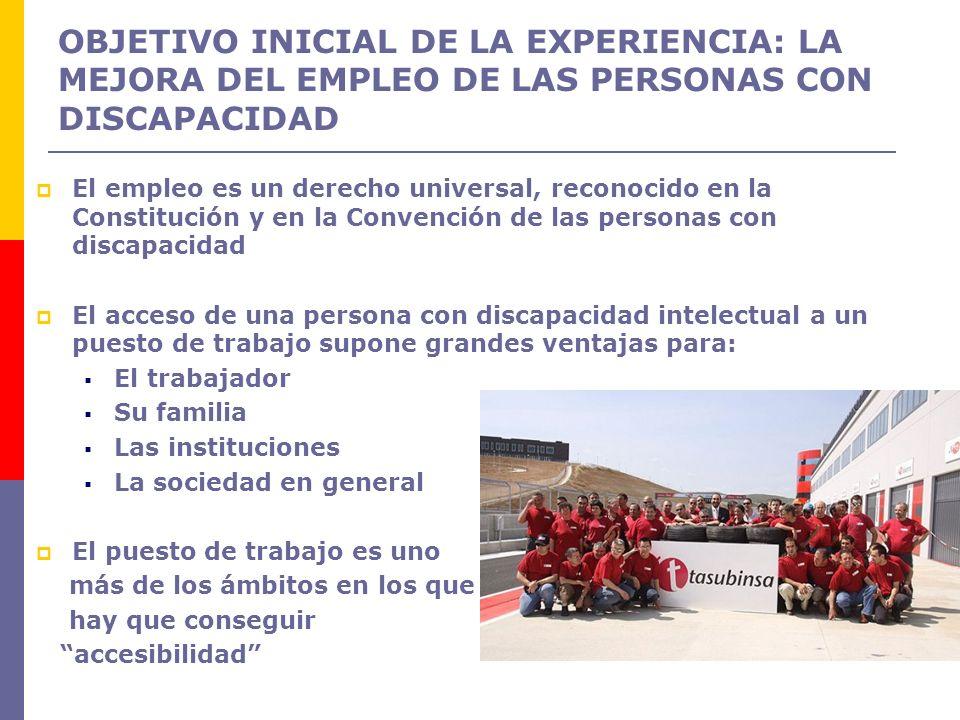 OBJETIVO INICIAL DE LA EXPERIENCIA: LA MEJORA DEL EMPLEO DE LAS PERSONAS CON DISCAPACIDAD El empleo es un derecho universal, reconocido en la Constitu