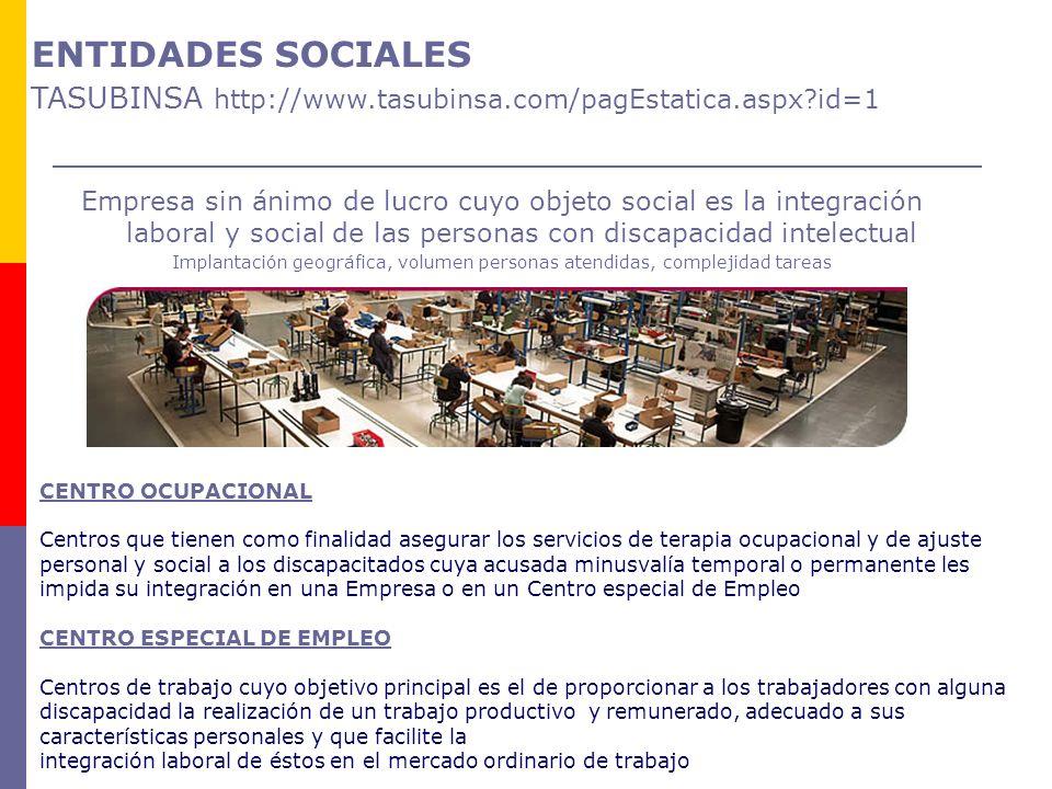 Empresa sin ánimo de lucro cuyo objeto social es la integración laboral y social de las personas con discapacidad intelectual Implantación geográfica,