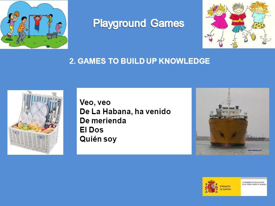 2. GAMES TO BUILD UP KNOWLEDGE Veo, veo De La Habana, ha venido De merienda El Dos Quién soy